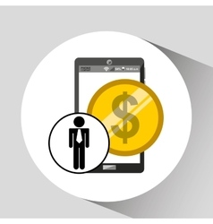 business man smartphone money currency icon vector image
