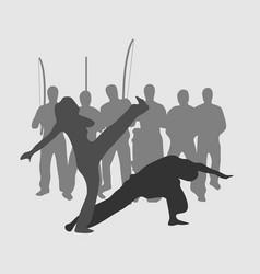 Capoeira roda game silhouette vector