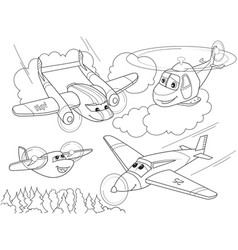 Cartoon coloring helicopters and planes with faces vector