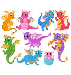 cartoon cute baby fairytale fantasy dragons vector image