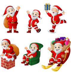 Cartoon santa claus collection set vector