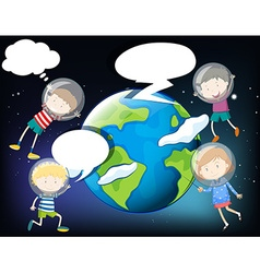 Children floating in the space around the earth vector image