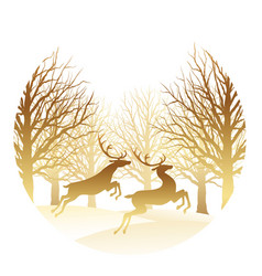 Christmas with forest and reindeer vector