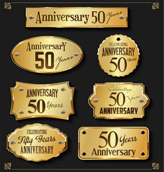 Collection of anniversary retro gold labels 50 vector