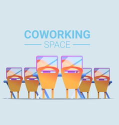 Coworking space concept banner cartoon style vector