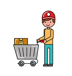 customer boy with cart boxes shopping vector image