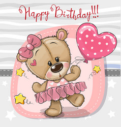 Cute cartoon dancing teddy bear vector