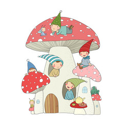 cute cartoon gnomes mushroom house and frog vector image