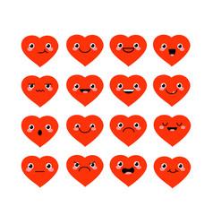 cute cartoon kawaii hearts set with different vector image