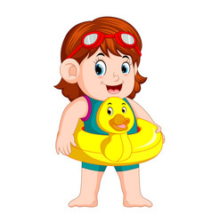 cute girl with duck flotation ring vector image