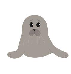 Cute seal pup baharp cartoon character white vector