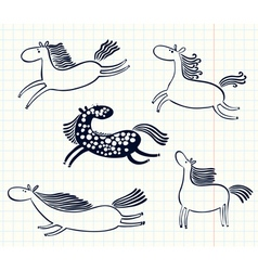 Doodle horses vector