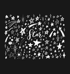 doodle set of stars hand drawn sketch vector image