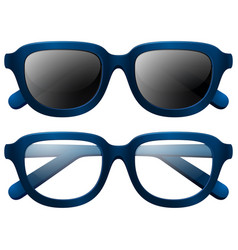 Eyeglasses and sunglasses with blue frames vector