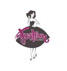 Fashion store new look style girl retro lady vector