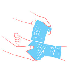 flat hand that bandaging the foot vector image
