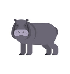 flat style of hippo vector image