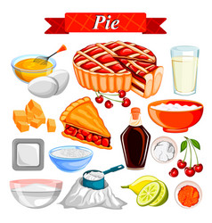 Food and spice ingredient for pie vector