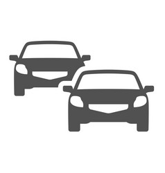 front view two passenger car icon flat vector image