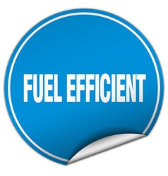 Fuel efficient round blue sticker isolated on vector