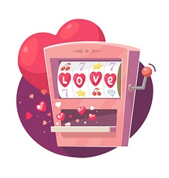 Gaming machine with red hearts on purple vector
