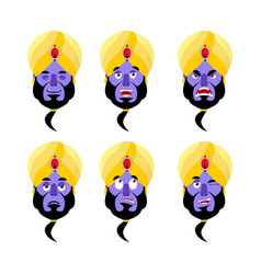 Genie emoji emotion set aggressive and good magic vector