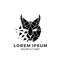Geometric lynx head logo icon explode download vector