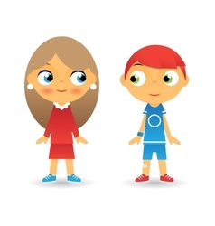 Girl and Boy Cartoon Character Children Icons vector image