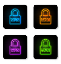 Glowing neon lock vpn icon isolated on white vector