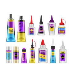 Glue packaging glues tubes realistic adhesive vector