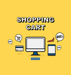 Graphic for online shopping concept vector