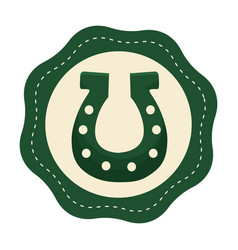 Green sticker horseshoe decoration art vector