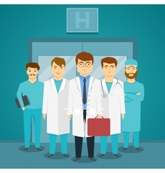 Group Of Medical Specialists In Hospital vector