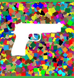 gun sign white icon on vector image