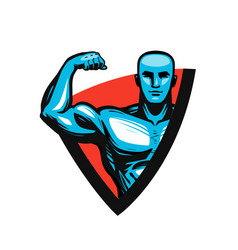 gym bodybuilding fitness logo or label muscle vector image