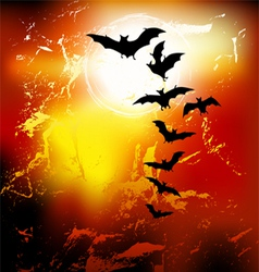 Halloween background - flying bats vector image