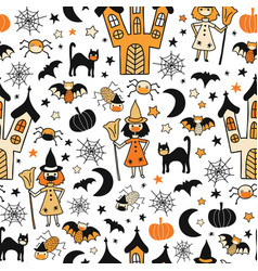 halloween characters wearing face masks seamless vector image