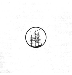 Hand drawn forest badge concept pine trees vector