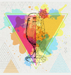 hipster realistic and polygonal cocktail daiquiri vector image