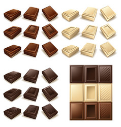 icon set - chocolate pieces and bars vector image