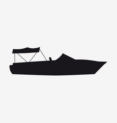 Icon speed boat boat side view silhoutte vector