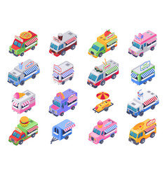 Isometric food trucks street carts hot dog truck vector