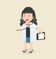 kid girl doctor with stethoscope vector image