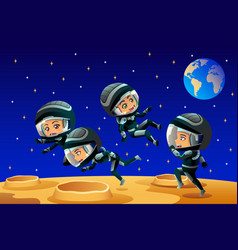 Kids wearing astronaut outfit on the moon vector