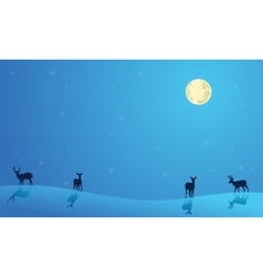 Landscape Christmas deer collection stock vector