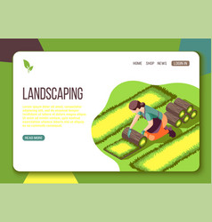 Landscaping isometric web landing page vector