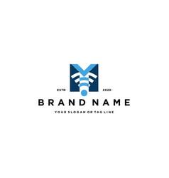 Letter m wireless logo design vector