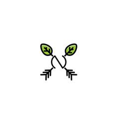 letter n nature arrow logo vector image