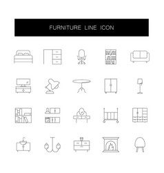 line icons set furniture pack vector image