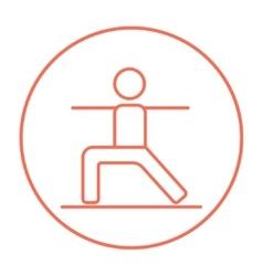 Man practicing yoga line icon vector